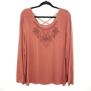 Fred David Terracota Embroidered Blouse Size XXL